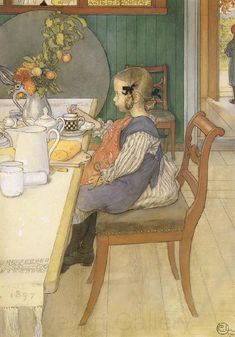 Carl Larsson (1859-1928): A Late-Riser-s Miserable Breakfast, 1900, watercolor
