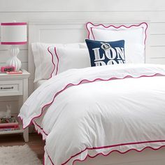 I like this standard sham better to monogram vs the serena and lily...what do you think? Vienna Scallop Duvet Cover + Sham, Pink Magenta | PBteen