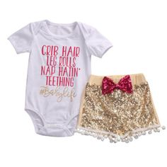 >> Click to Buy << 3Pcs Cute Infant Toddler Newborn Baby Girl Top Shirt Romper Sequin Pants Outfits Set Clothes Summer #Affiliate
