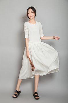 White Dream Elbow Length Sleeves White Maxi by dresstore2000