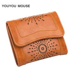 YOUYOU MOUSE High Quality Women Short Wallet Solid Color Hollow PU Leather Money Bag 3 Fold Small Lady Clutch Card Holder Wallet