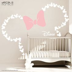 Mickey Mouse Inspired ears with Bow & PERSONALIZED BABY NAME / Minnie Mouse Inspired wall decals by Decals Murals (Medium)