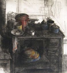 """Safet Zec, (Bosnian artist, b.1943):  [old stove in use in peasant kitchen.] """"... I love this ~ so very earthy and reminiscent of own paternal grandmother's old stove, as a child!"""""""