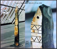 "Martin Künne: ""Kaitum"", Basaltsäule, 125 x 21 x 17 cm, 2000. sculpture"