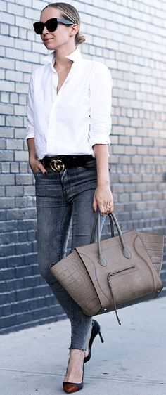 Classic White Button Down + Gucci Belt + Celine Phantom Bag Source