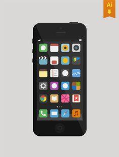 Flat iPhone 5 - Free Vector