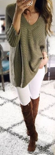 How to wear Thigh High Boots Outfit - #Boots #Fashion #HighBoots #Fall #WinterOutfits (60)