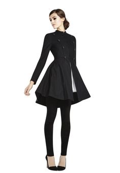This is all kind of wonderful: COHEN FLARE MILITARY COAT in BLACK/BLACK by Alice + Olivia