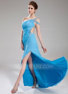 A-Line/Princess One-Shoulder Sweep Train Chiffon Prom Dress With Ruffle Beading Split Front (018018823) - JJsHouse