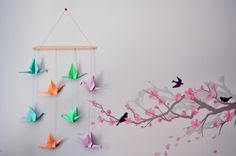 This month's DIY has been a long time in the making. I've wanted to make display of hanging origami paper cranes in my office for months. Hanging Origami, Origami Paper Crane, Diy Hanging, Paper Cranes, Paper Crane Mobile, Anime Crafts, Nursery, Bed Room, Create