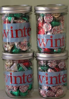 Kisses In A Jar  thank you holiday gift mason jar, wrapping paper and Hershey's kisses. Put gift card inside.