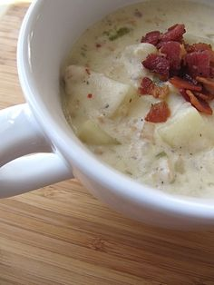 Slow Cooker New England Clam Chowder Recipe from bakedbyrachel.com