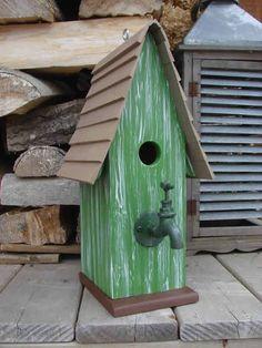 Faucet Green Bird House. Wooden Birdhouse Painted Birdhouse #OutdoorFaucets #woodenbirdhouses #birdhousekits