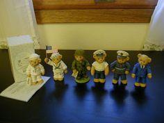 Cherished Teddies Lot #36 Six Military: Navy,Coast Guard,Army,Air Force,Marines