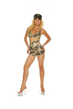 Army Girl High-Waisted Shorts Set