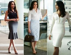Meghan Markle, Prince Harry's girlfriend, is currently starring in season seven of legal drama Suits, and her character Rachel Zane has an enviable wardrobe. Suits Meghan, Suits Rachel, Meghan Markle Suits, Estilo Meghan Markle, Meghan Markle Style, Classy Work Outfits, Office Outfits, Mode Outfits, Formal Outfits