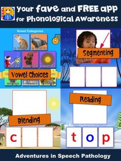 Your fave and FREE app for Phonological Awareness - Adventures in Speech Pathology Phonemic Awareness Kindergarten, Phonological Awareness Activities, Phonics Activities, Speech Language Pathology, Speech And Language, E Words, Preschool Special Education, Learning Apps, Reading Fluency