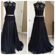 Jovani Black Lace Gown Jovani lace gown size 6.  No alterations .  Bust 35 waist 28.5 Hip 38.5.  Gown is long enough for someone 5'10. Jovani Dresses Prom