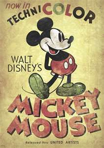 This is a vintage (or, at least, vintage-looking) Mickey Mouse poster. I picked this because I like the vintage style. The fonts are cool, and the distressed look works really well to establish a vintage feel. Vintage Advertising Posters, Vintage Advertisements, Vintage Ads, Vintage Posters, Vintage Style, Retro Disney, Disney Love, Disney Art, Walt Disney Movies