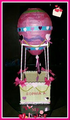 Diy Hot air balloon valentine card holder box!!!