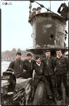 Crew members of U-50 display their Iron Crosses in Wilhelmshaven on the 2nd March 1940 (All 44 crew died when the U-50 ran into a minefield in the North Sea on the 6th April 1940)