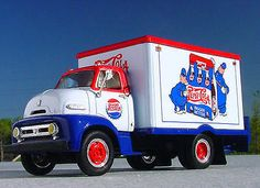 Awesome 1953 Ford Pepsi Cola Cops Delivery Truck First Gear Vw Vintage, Vintage Trucks, Vintage Menu, Old Pickup Trucks, Chevy Trucks, Truck Drivers, Eddie Stobart Trucks, Classic Ford Trucks, Classic Cars