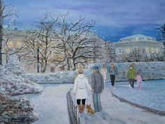 "'In Worlds of their Own' - gouache/watercolour painting, 16"" x 12""  #winter #snow #twilight #people #nature #walking #pets #animals #lights #london #art #artist #artwork"