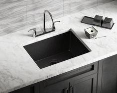 MR Direct Dualmount Granite Composite 22 in. Single Bowl Kitchen Sink in - The Home Depot Apron Sink Kitchen, Farmhouse Sink Kitchen, Kitchen Sink Faucets, New Kitchen, Kitchen Ideas, Kitchen Designs, Kitchen Decor, Kohler Sink, Summer Kitchen