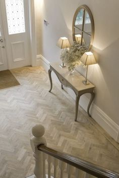 Hall/Edwardian Herringbone parquet floor. Lovely pale tones.