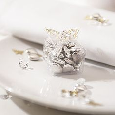 Clear Butterfly Wedding Favour Boxes - Confetti