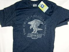 NWT GM Chevrolet vintage style blue American Car tee shirt men's size SMALL #GM #GraphicTee