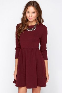 Cute Burgundy Dress Long Sleeve c297c7aad