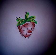 Watercolor tattoo design strawberry