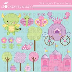 Stick Figure Princess Frog Items Personal and Commercial Use Clipart Set - Instant Download on Etsy, $5.00