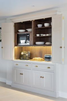 The breakfast pantry A handy spot to keep the toaster and coffee machine and have everything you need to hand plates knives spoons cups mugs Open Plan Kitchen, Kitchen Redo, Kitchen Living, New Kitchen, Kitchen Remodel, Small Kitchen Diner, Kitchen Larder, Kitchen Storage, Kitchen Cabinets