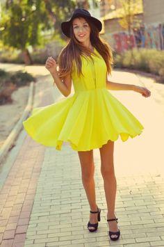 Bright Yellow Summer Little Dress