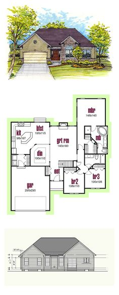Traditional Style House Plan 56402 with 3 Bed, 2 Bath, 2 Car Garage Ranch House Plans, Dream House Plans, Small House Plans, House Floor Plans, Build My Own House, Building A House, Modern Brick House, Contemporary House Plans, Contemporary Bathrooms