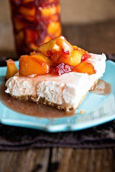 Peaches and Cream No Bake Cheesecake @dineanddish