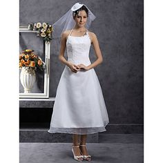 A-line Halter Tea-length Organza Wedding Dress with Beaded Appliques – USD $ 89.99