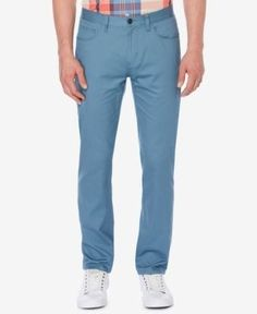 Perry Ellis Men's Bedford Slim-Fit Stretch Corded Chinos, a Macy's Exclusive Style - Blue 34x32