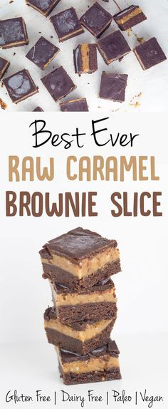 My Raw Caramel Brownie Slice is gluten, dairy and refined sugar free (as always) and suitable for paleo and vegan lifestyles. There are three layers to this masterpiece, the chocolate brownie base, a gooey caramel layer and crunchy chocolate layer to top it off.