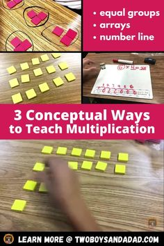 Teaching conceptual understanding of multiplication to 3rd grade students should be a hands on approach to have students build equal groups, arrays and multiplicative jumps on a number line. These foam tiles are great for concretely moving students from additive to multiplicative reasoning. Discover and learn more about my strategies, activities and resources I use to teach the concept of multiplication. #twoboysandadad Multiplication Activities, Math Activities, Number Line Activities, Maths, Teaching Numbers, Teaching Math, Math Strategies, Math Resources, Third Grade Math