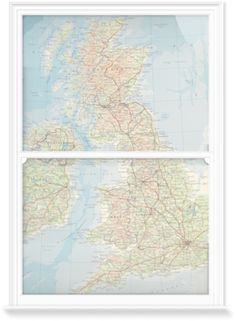 Window Films of The British Isles by Vintage Maps (1000mm x 1500mm) | Shop | Surface View