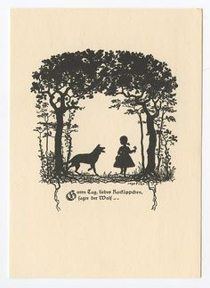 German Red Riding Hood silhouette postcard. Beautiful!