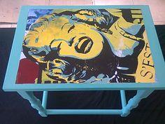 Marilyn Monroe vintage decoupage table in seafoam green ~ https://www.facebook.com/Beetreecrafts
