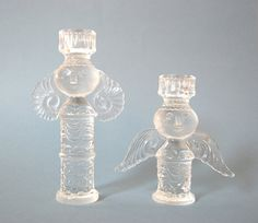 Two Bjorn Wiinblad Crystal Angels for Rosenthal