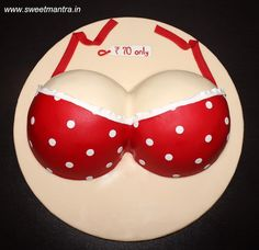 Boobs Bra shaped 3D designer naughty fondant cake for friend's bachelor party by Sweet Mantra - Customized 3D cakes Designer Wedding/Engagement cakes in Pune - http://cakesdecor.com/cakes/299412-boobs-bra-shaped-3d-designer-naughty-fondant-cake-for-friend-s-bachelor-party