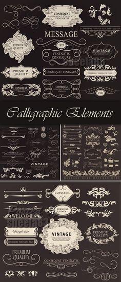 Calligraphic Design Elements Vector 2