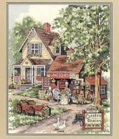 Punto de Cruz GRATIS: Preciosa Casa Country