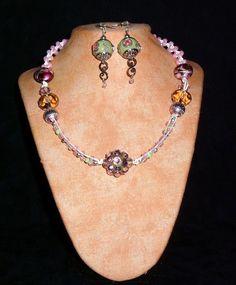 Hemp Necklace K3 Pink diamonds by ToxicDaisy on Etsy